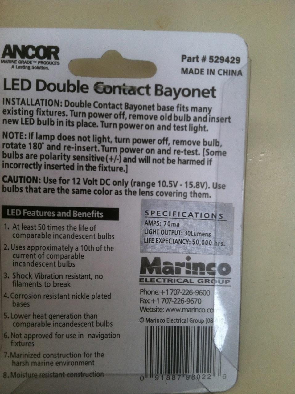 Dc Electrical Panel Replacement J 30 Class Association 3 Wire Diagram Marinco Led Bulb Bayonette Specs